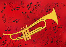 Abstract music background with a golden trumpet Royalty Free Stock Photos