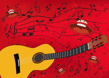 Abstract music background with a guitar Royalty Free Stock Image