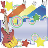 Abstract  music background with a guitar and colorful spotlights Stock Images