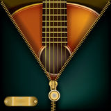 Abstract music background with guitar and open zipper Stock Photo