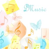 Abstract music background with notes, note papers and butterfly. Music background with note paper, notes and butterflies Royalty Free Stock Photo