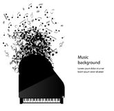 Abstract music background with piano and notes Royalty Free Stock Images