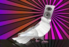 Abstract music background pigeon. Speaker dove bird sun bird Stock Images