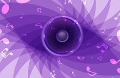 Abstract music background. Purple music background  with music notes and speaker Royalty Free Stock Photos