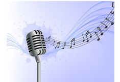 Abstract music background realistic microphone wave notes blue background stock illustration