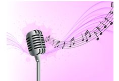 Abstract music background realistic microphone wave notes pink background vector illustration