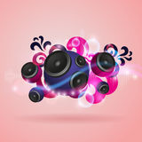Abstract music background with round speakers. EPS10 vector Stock Image