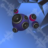 Abstract music background with round speakers Stock Images