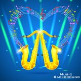 Abstract Music Background with Saxophone Stock Photo