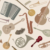 Abstract Music Background. Seamless texture with musical instrum Royalty Free Stock Photo