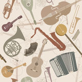 Abstract Music Background. Seamless texture musical instruments Royalty Free Stock Images