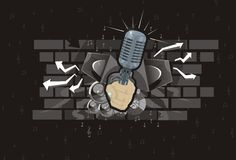 Abstract music background speaker hand microphone. Speakers notes arrows brick patch of light royalty free illustration