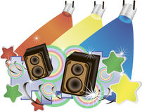 Abstract  music background with speakers and colorful spotlights Stock Images