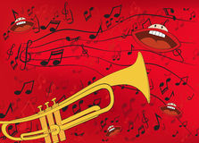 Abstract music background with a trumpet Royalty Free Stock Images
