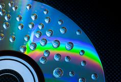 Abstract music background, water drops on CD/DVD. Abstract music background, colorful water drops on CD/DVD disc Stock Photography