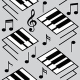 Abstract music backgrounds. Piano keys and musical notes. Royalty Free Stock Photography