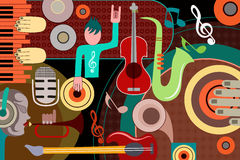 Abstract Music collage background. Vector illustration of abstract Music collage background Royalty Free Stock Photography