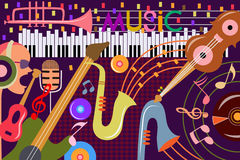 Abstract Music collage background. Vector illustration of abstract Music collage background Royalty Free Stock Photos