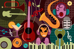 Abstract Music collage background. Vector illustration of abstract Music collage background Royalty Free Stock Image