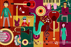 Abstract Music collage background. Vector illustration of abstract Music collage background Royalty Free Stock Photo