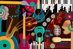 Abstract Music collage background. Vector illustration of abstract Music collage background Stock Photos