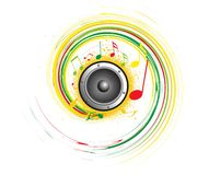 Abstract music creative design. Vector image illustration rainbow colorful swiral wave Abstract creative music notes design royalty free illustration
