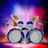 Abstract music dark background with drum kit Stock Images