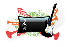 Abstract music design. With musical instruments and green circles Stock Photos