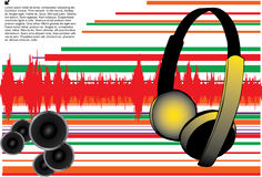Abstract music design. With earphones and sound speakers Royalty Free Stock Image
