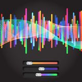 Abstract music equalizer. Eps 10. Abstract music equalizer. With colored slider Stock Photography