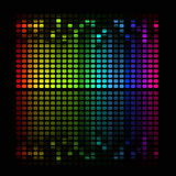 Abstract music equalizer. Illustration of colorful musical bar showing volume on black background Royalty Free Stock Photo