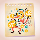 Abstract music fan with headphones note paper cartoon illustration Stock Photography