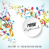 Abstract music festival advertising poster template with tunes. Vector art Royalty Free Stock Photos