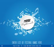 Abstract music festival advertising poster template with tunes. Vector art Royalty Free Stock Photography
