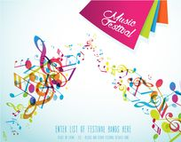 Abstract music festival advertising poster template with tunes. Vector art Stock Image