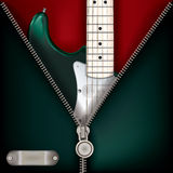 Abstract music green background with guitar and open zipper Royalty Free Stock Photography