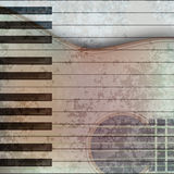 Abstract music grunge background guitar and piano. Abstract music grunge background with acoustic guitar and piano Royalty Free Stock Photo