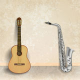 Abstract music grunge background with guitar and saxophone Stock Images