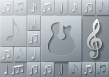 Abstract Music Guitar with Notes Design Template. Background, Vector Illustration Stock Photos