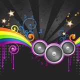 Abstract music illustration. Musical artwork with colorful elements. There are three speekers dominating this image. Perfect decoration for your party flyer Stock Image