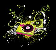 Abstract music illustration. Colorful abstract music illustration including turntables in the design on a black background Stock Photos