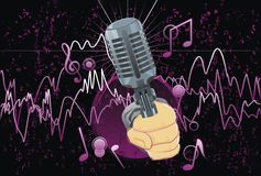 Abstract; music; illustration; microphone Stock Photos
