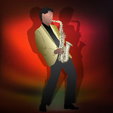 Abstract music illustration with saxophone player Royalty Free Stock Image