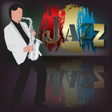 Abstract music illustration with saxophone player Stock Images