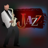 Abstract music illustration with saxophone player Stock Image