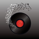Abstract music  illustration- vinyl and music note Stock Photo