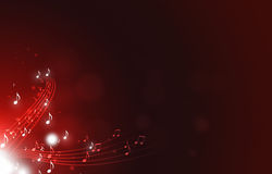Abstract Music Notes. Red abstract background with music notes lights and bokeh Stock Images