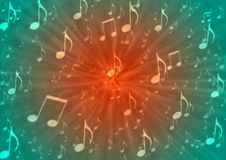 Abstract Music Notes Blast in Blurry Red and Green Background. Illustration of music notes with radial blast effect in blurred red and green background royalty free illustration