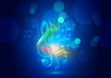 Abstract Music Notes and Bokeh Lights Blue Background Stock Photography