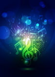 Abstract Music Notes and Bokeh Lights Blue Background Royalty Free Stock Photography